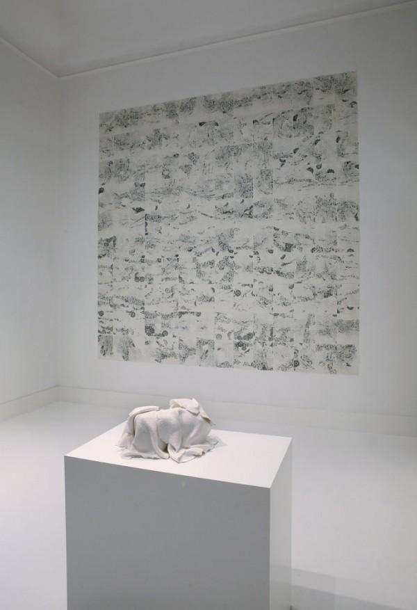Arioso Operoso, 2013-2014, fotocopie dal vero formato A4, 297 x 294 cm + Dispensar pensieri in tempo, 2011, materiali mistici, dimensioni variabili, ph Luca Pancrazzi