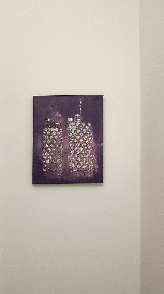 Variabile di sentimento e di tempo, 2011, acrilico e bianchetto su tela, 35 x 45 cm, ph Elena El Asmar